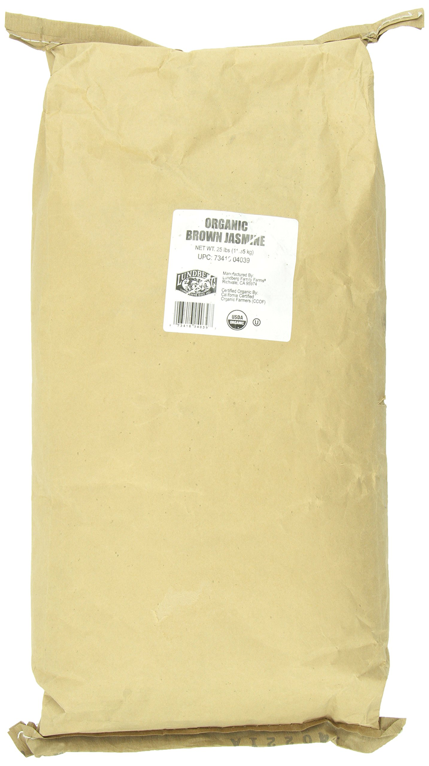 Lundberg Family Farms Organic California Brown Jasmine Rice, 25 Pounds (Packaging May Vary)