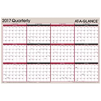 Amazon.com : AT-A-GLANCE Yearly Wall Planner Calendar 2017 ...