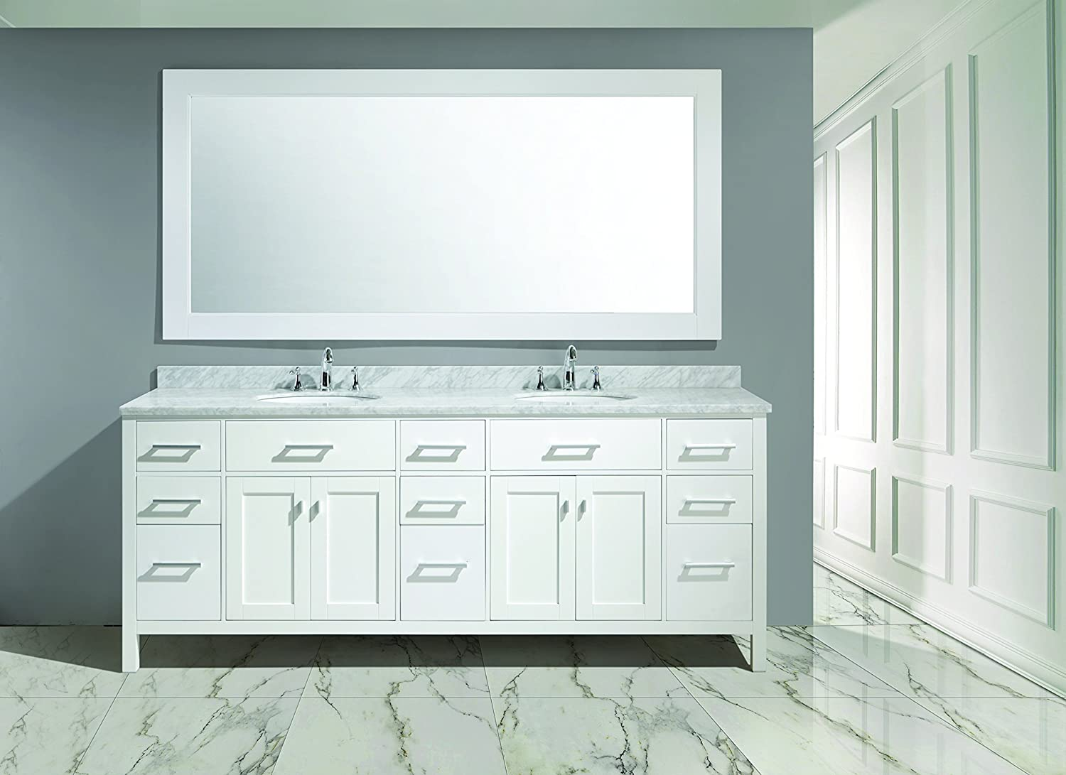 Design Element DEC076 84 W London  Double Sink Vanity Set In White Finish Amazon Com