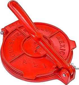 Tortilla Press 8 Inch Red Color- Cast Aluminum Tortilla Maker - Heavy-Duty Taco Presser - Made In Mexico Corn Flour Tortilla Press for Homemade Mexican Food - Tortillera Para Hacer Tortillas - 2.5lbs
