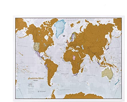 Maps International Scratch The World Travel Map – Scratch Off World Map  Poster – Most Detailed Cartography - 22 x 17