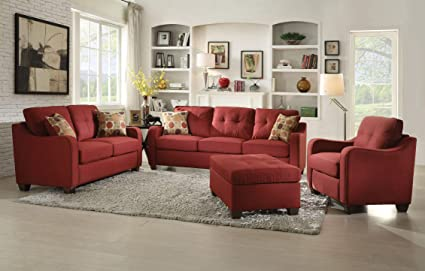 Amazoncom Acme Furniture 53560 Cleavon Ii Sofa With 2 Pillows Red