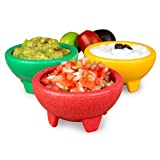 Nostalgia Taco Tuesday 3-Piece Bowl Set in Red, Yellow, Green, Made of Durable Dishwasher Safe Plastic, Perfect For…
