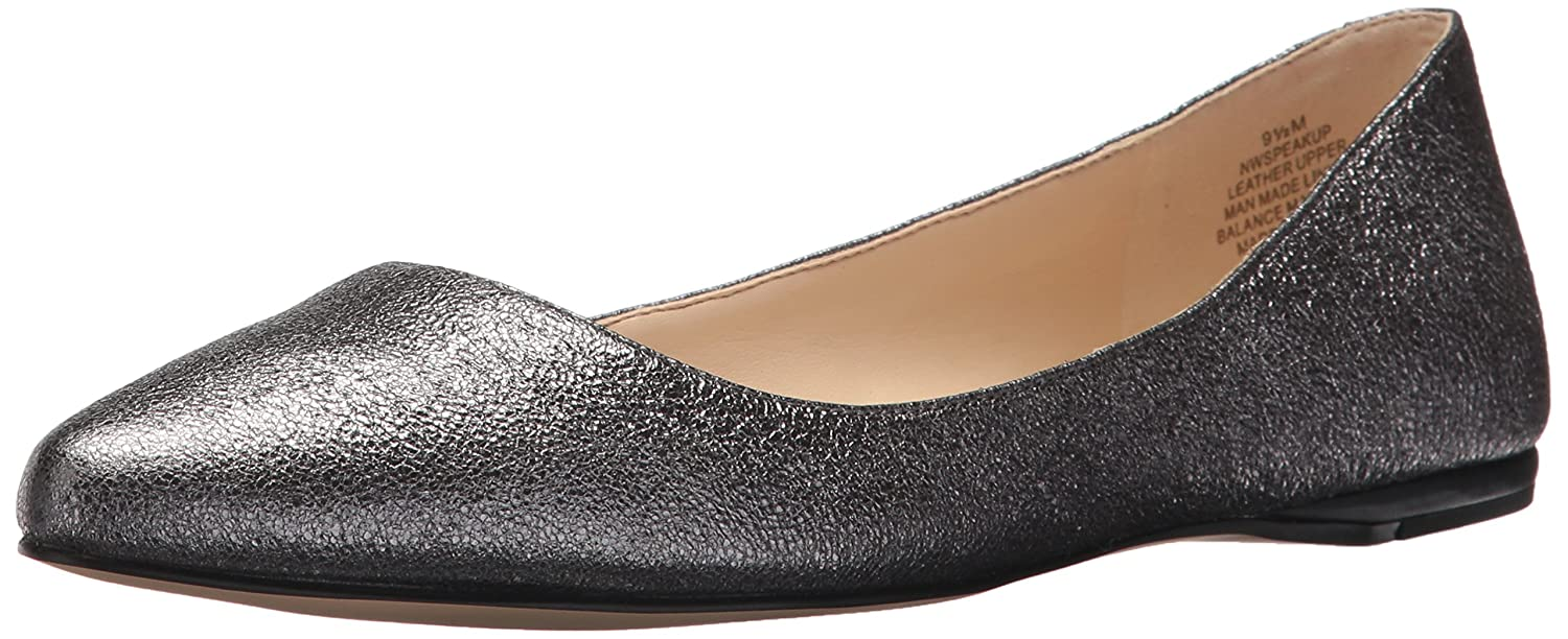 Nine West Women's Speakup Mettalic Ballet Flat B071XTTWNK 8 B(M) US|Pewter Multi