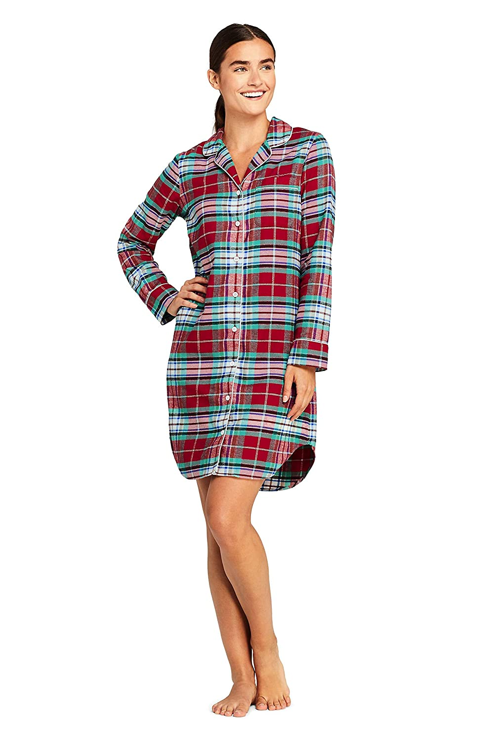 Lands' End Women's Long Sleeve Print Flannel Nightshirt