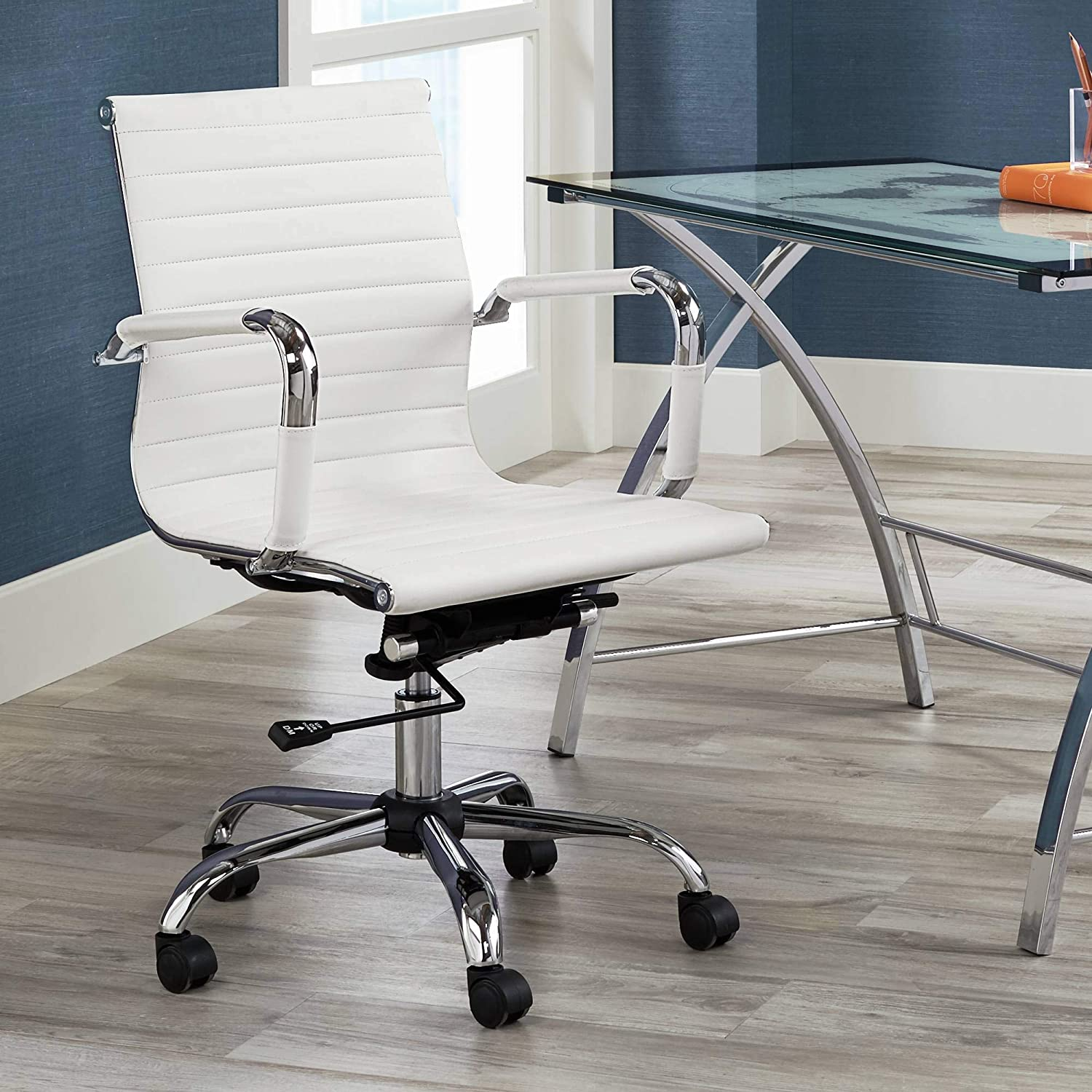 Studio 55D Serge White Low Back Swivel Office Chair
