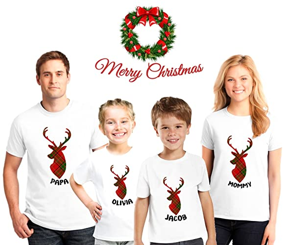Amazon.com  Reindeer Family Christmas Pajama Matching Shirts 918669be9