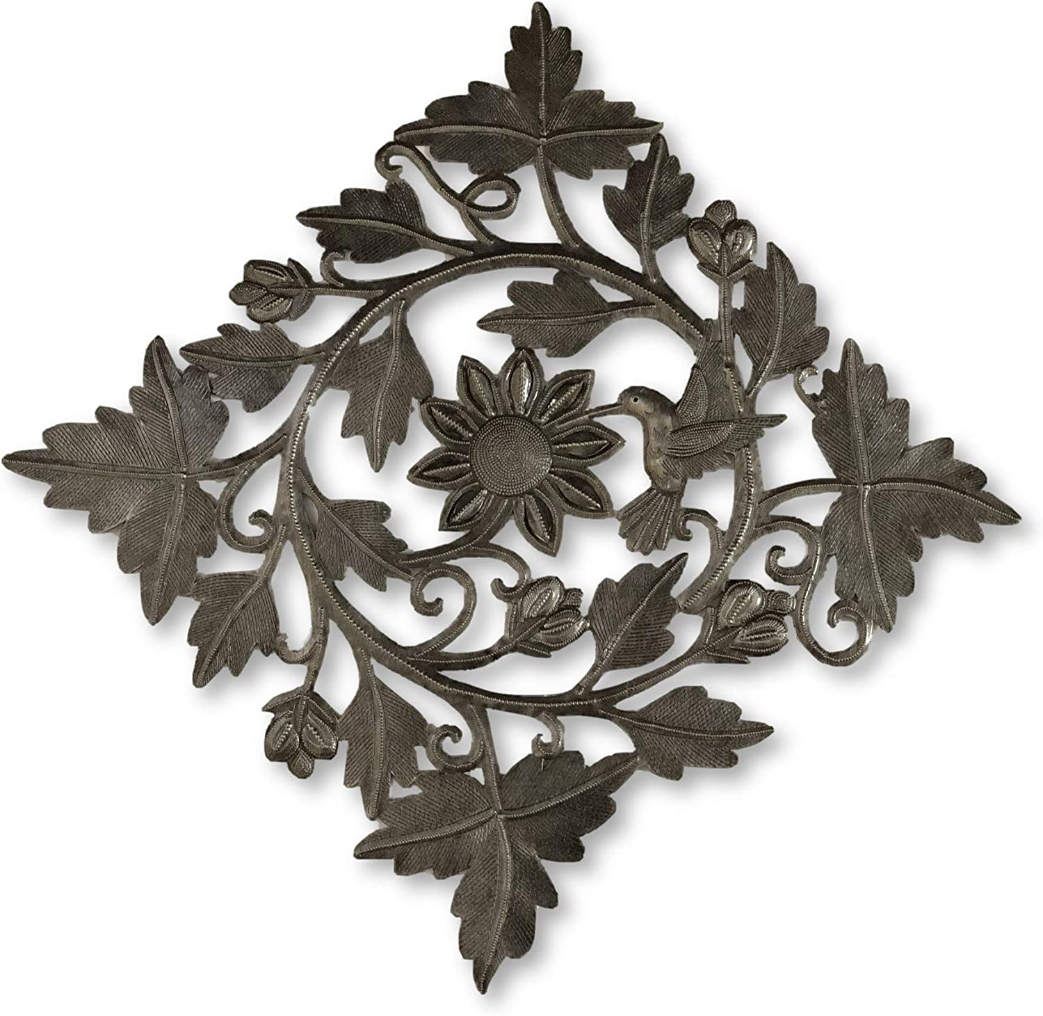 Handmade in Haiti x 16.5 in. Floral Garland with Hummingbird Spring Indoor and Outdoor Wall Decor Haitian Metal Wall Art 16 in