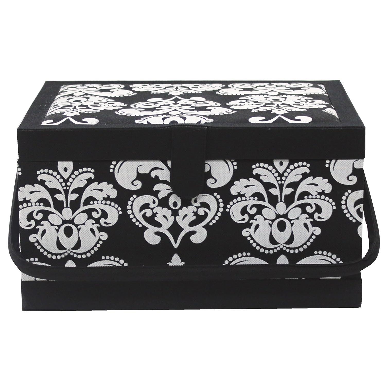 Sewing Basket - Black & White - 34 x 27 x 20cm (13 1/2 x 10 1/2 x 7 3/4) H. A. Kidd
