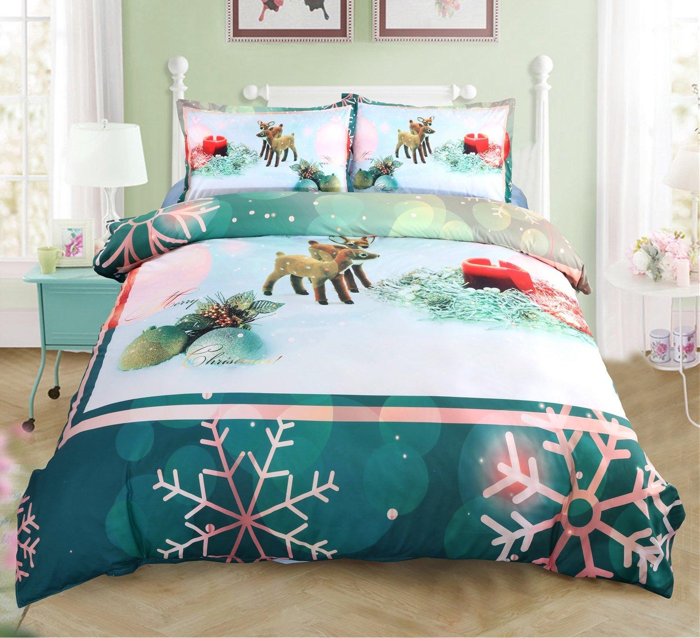 Beddinginn 4Pcs Christmas Bedding Set 50%Cotton 50%Tencel Fawn Playing in Snow Duvet Cover Set(King Size)