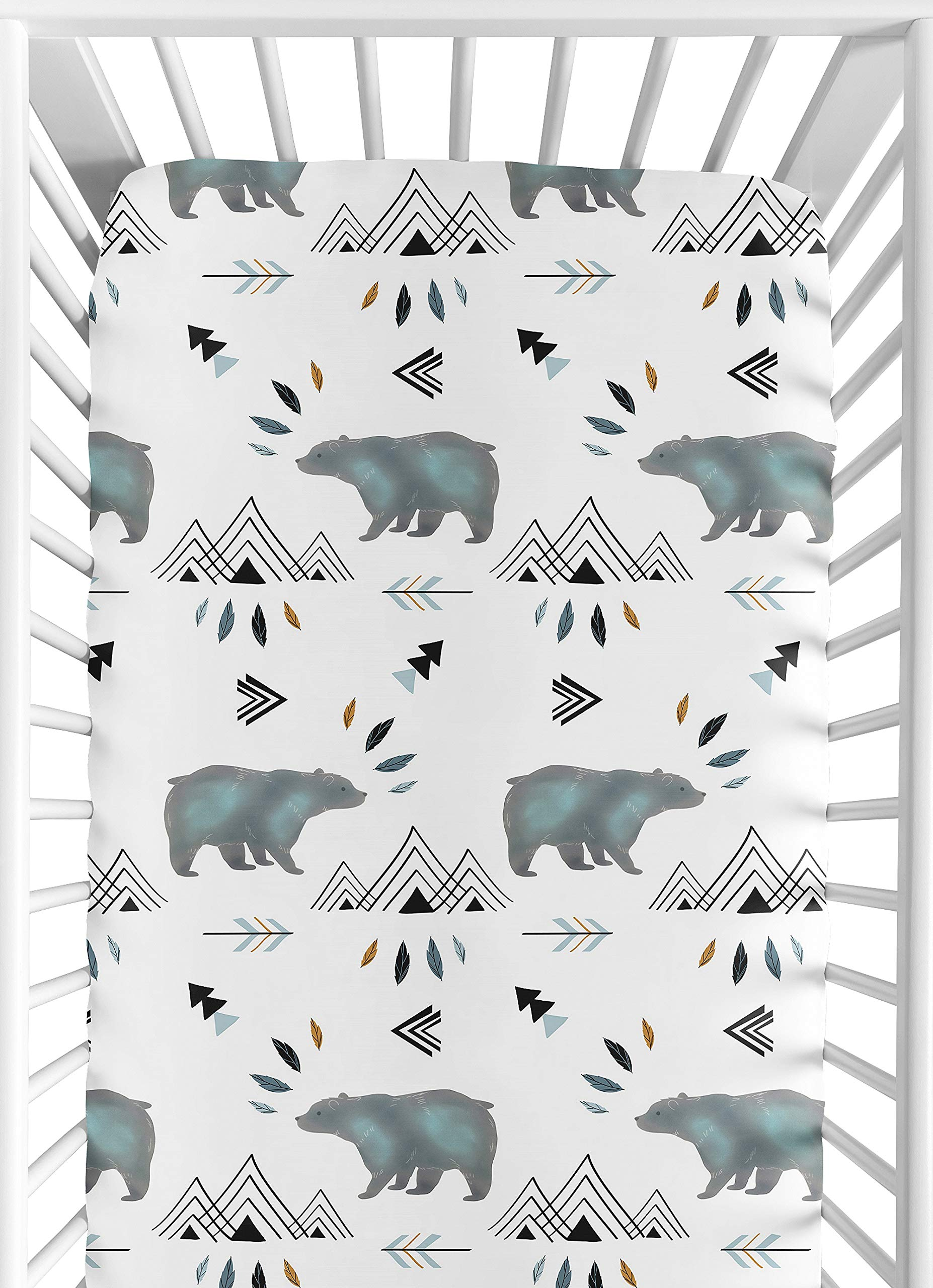 Sweet Jojo Designs Baby or Toddler Fitted Crib Sheet for Bear Mountain Watercolor Collection by Sweet Jojo Designs