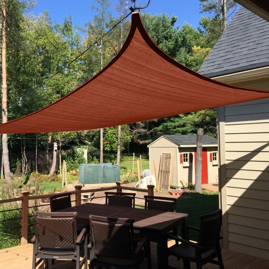 Peaktop 98 UV Block 20x16Ft Rectangle Sun Shade Sail Canopy Sun Shelter Perfect for Outdoor Patio Terracotta with Free Hardware Kit