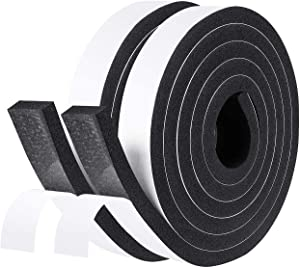 fowong Adhesive Foam Tape, 1 Inch Wide X 3/8 Inch Thick Door Seal Strip Window Insulation Soundproof Tape High Density Weather Stripping(2 Rolls with Total 13 Feet Long)