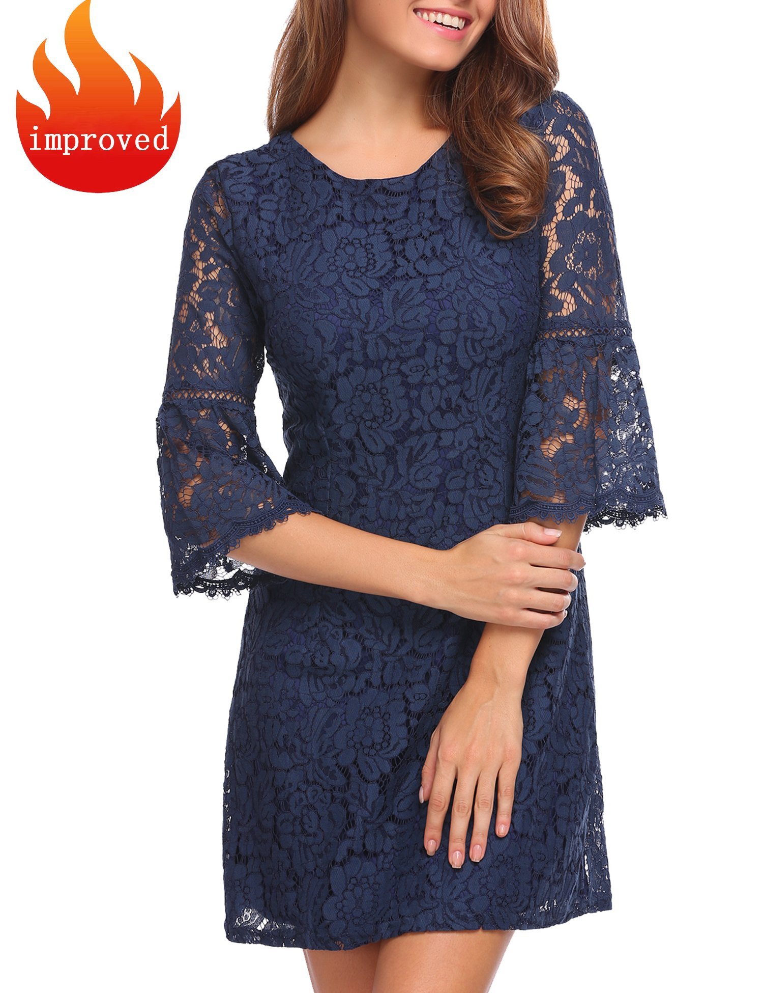 Zeagoo Women's 3/4 Flare Sleeve Floral Lace A-line Night Party Dress (Large, Navy Blue)