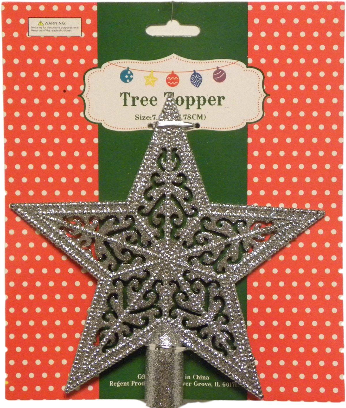 Brilliant Filigree Glitter 5 Point Star Tree Topper Red Filigree 7.5 Inches