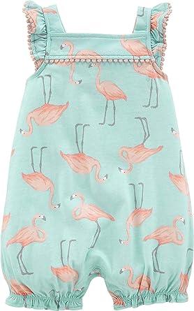 Carters Baby Girls Flamingo Pom Pom Romper 6 Months Mint Green//Pink