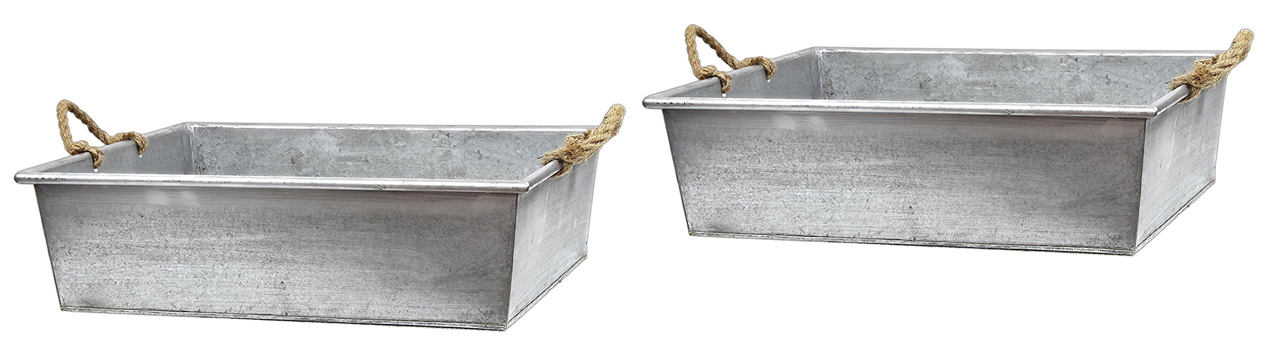 Lucky Winner Set of 2 Galvanized Metal Bucket Trays with Rope Handles 23''x19''