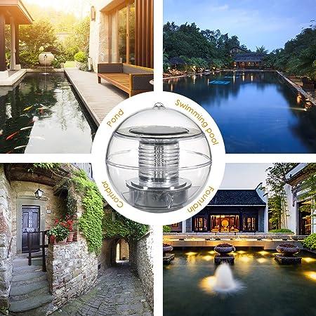 Linkax Solar Luz flotante Luz de la piscina Luz del estanque con cambio de color a prueba de agua Jardín Luz colgante de la bola de ABS Plástico (1 pieza): ...