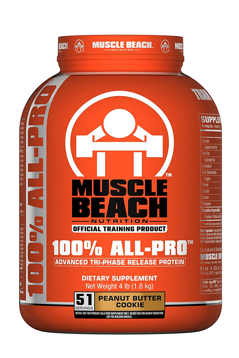 Muscle Beach Nutrition 100 All-Pro Advanced Tri-Phase Release Protein Peanut Butter Cookie, 4lb Whey Protein Isolate, Micellar Casein, Whey Protein Concentrate