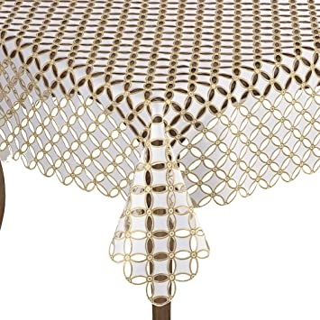Occasion Gallery Gold and White Cutwork and Embroidered Geometric Design  Holiday Collectible Table Linens Collectibles Collectible Linens & Textiles  (1930-Now)