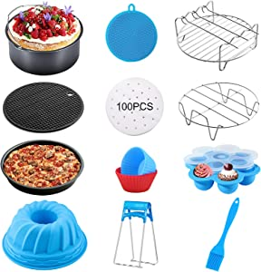 Air Fryer Accessories 8in, Air fryer Accessory For 5.3 QT-5.8 QT fryers and Large Size Pressure Cooker,Deep Fryer Accessories Set With Nonstick Coating,Dishwasher Safe