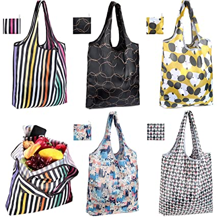a5751907f6 Image Unavailable. Image not available for. Color: JASSINS Reusable Grocery  Bags, Set of 5 ...