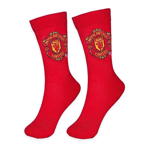 Manchester United FC Calcetines de vestir oficiales - Para hombre - Rojo - Para adultos con una talla de zapatos entre la 39 y la 45.