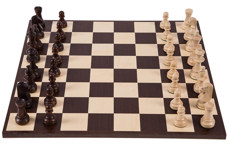 Pro Schach Set Nr. 6 SQUARE - AMERIKA - Schachbrett + Schachfiguren Staunton 6 - Schachspiel aus Holz