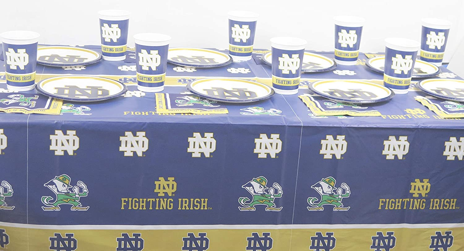 Includes Plates Notre Dame Football Graduation Party Jumbo Plastic Cups and a Tablecloth Creative Concreting Napkins 49 Pieces Set