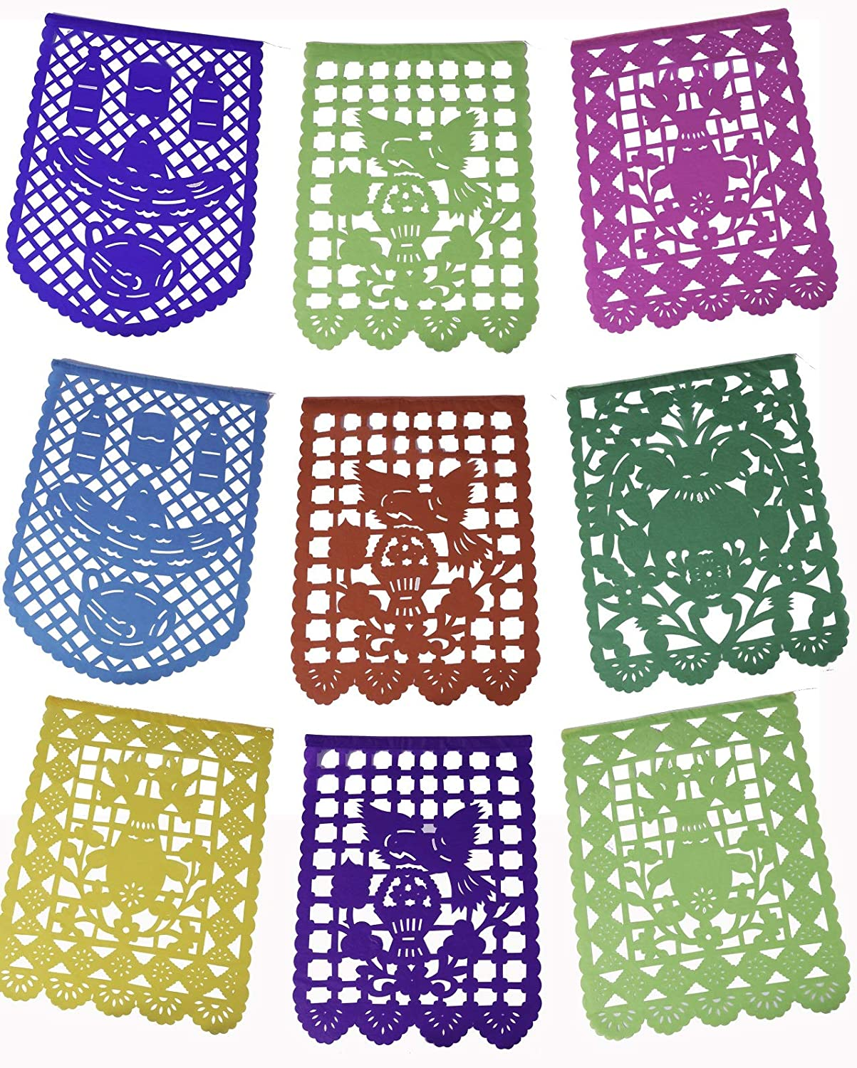 ART MEXICO Papel Picado Banner Fiesta Decorations | 5 meter (16ft) Paper Banner with 16 Medium Sized Flags | Mexican Papel Picado Banner