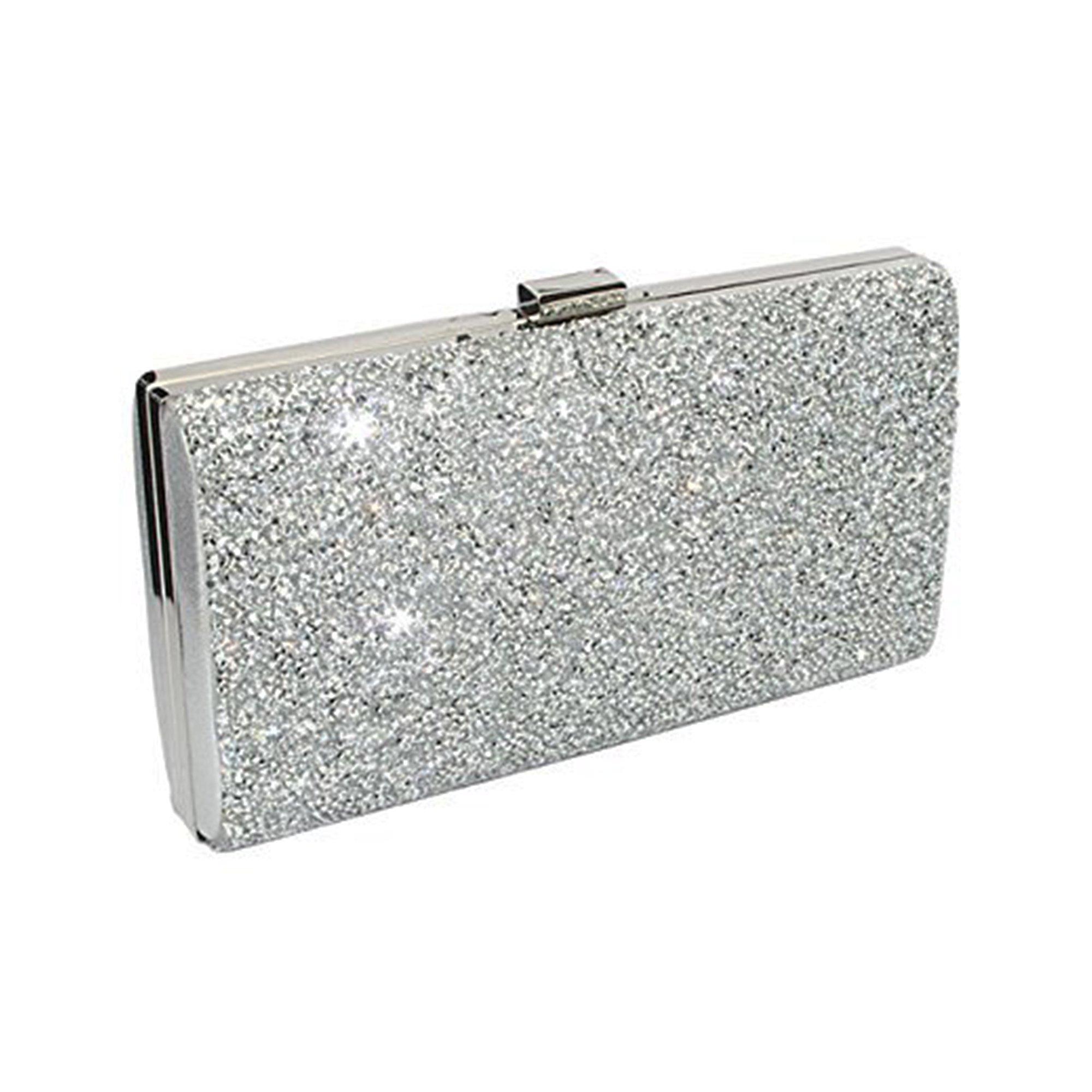 ChilMo Ladies Rhinestone Clutch Purse Sparkling Evening Handbags For Wedding Prom Bride,Silver