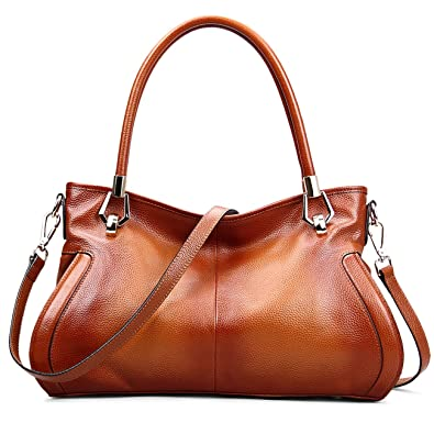 AINIMOER Womens Soft Leather Purse Vintage Shoulder Bag Tote Top-handle Handbags Cross Body Bags(Sorrel)