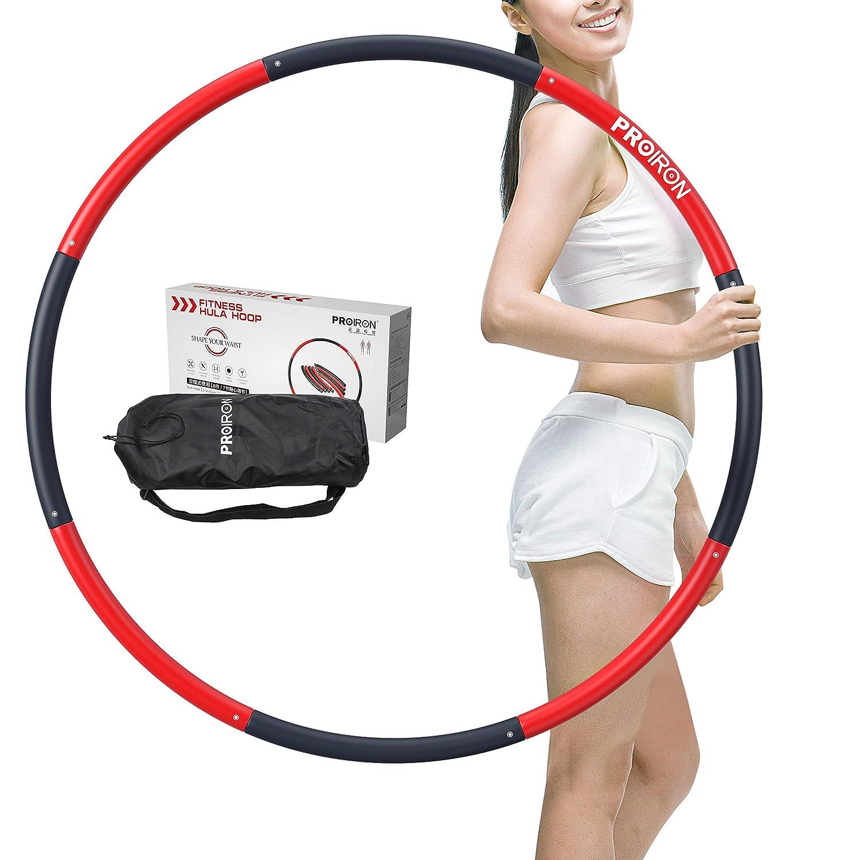 PROIRON Hula Hoops Cerchio per Fitness Hula Hoop Adulti per Esercizio Fitness 1,8kg in 6//7 8 sezioni Perdere Peso Imbottito in Schiuma Ponderato
