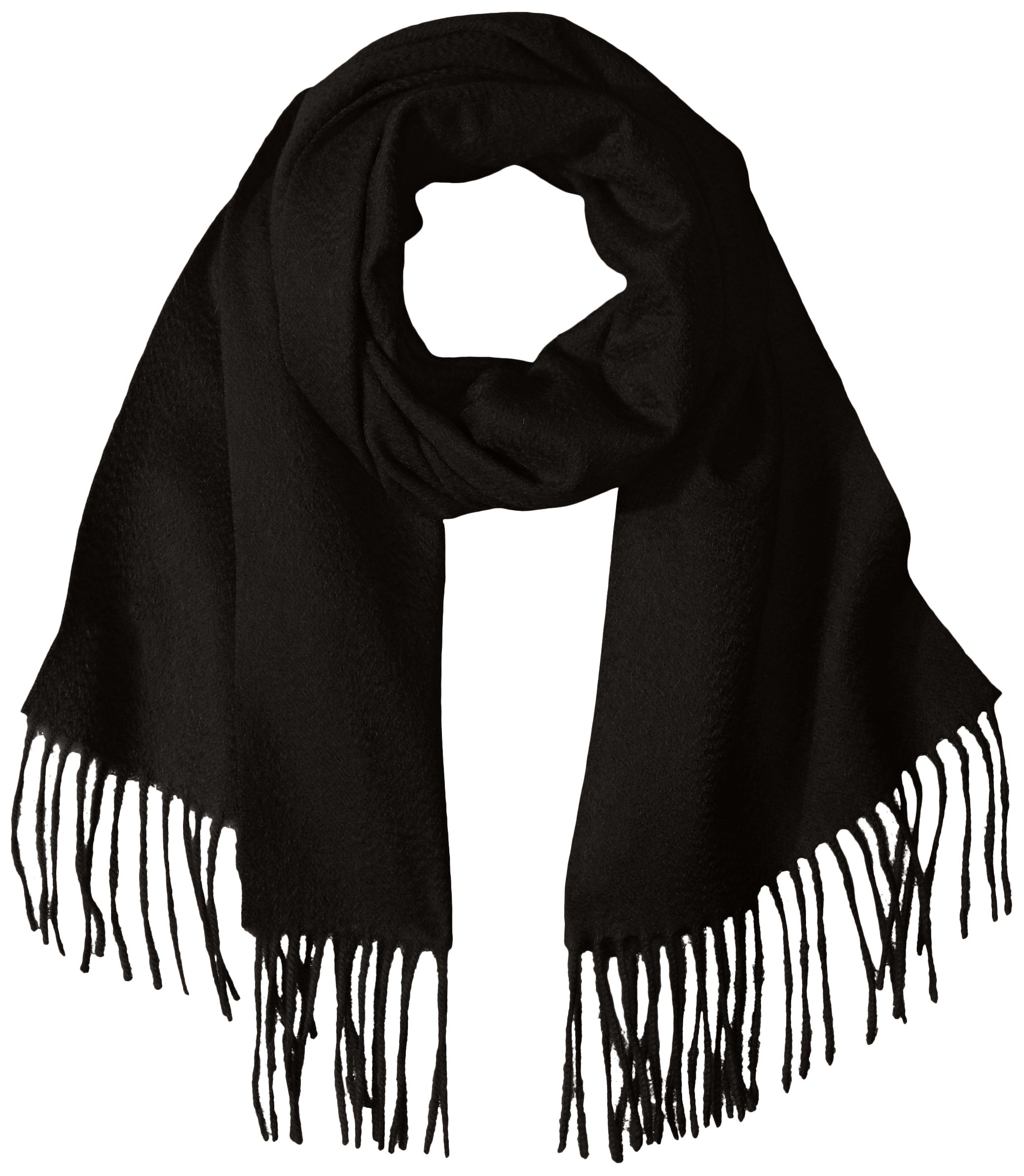Sofia Cashmere Women's 100 Percent Cashmere Woven Scarf with Fringe, Black, One