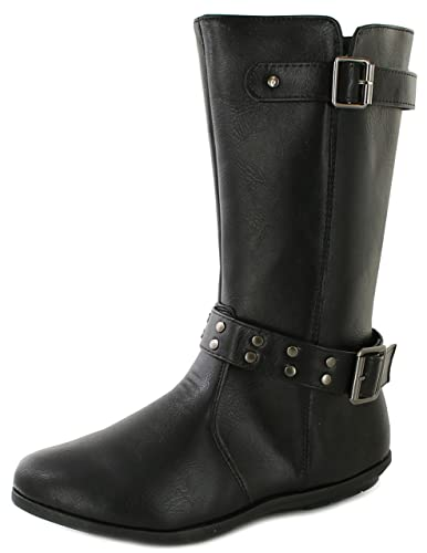 New Girls Synthetic Leather Fashion Calf Length Boots With Zip - Black - UK  SIZE 2
