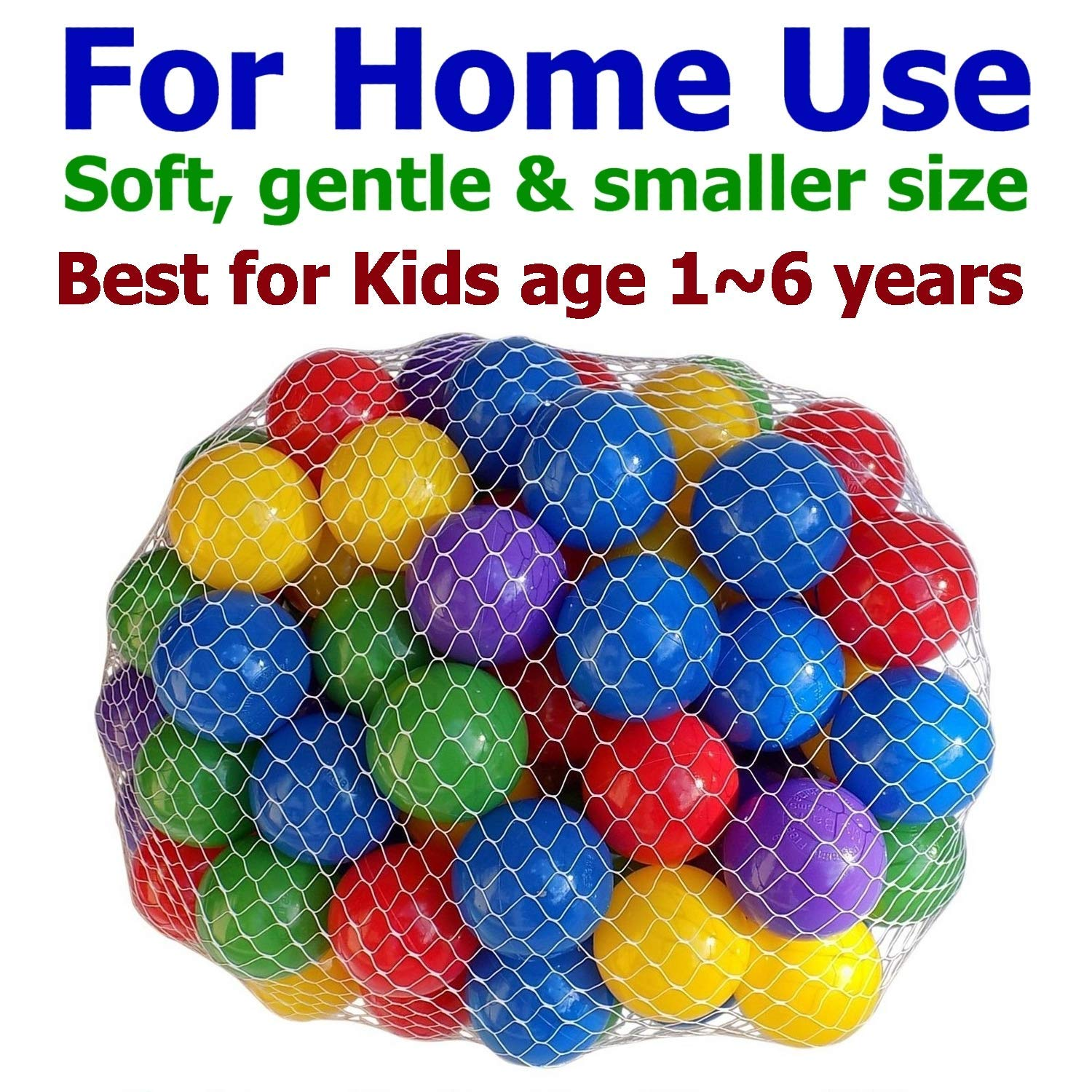 Pack of 200 Large Size 2.5'' Crush-Proof Ball Pit Balls - 5 Colors, Phthalate Free; BPA Free, Non-Toxic, Non-Recycled Plastic (Pack of 200) by My Balls