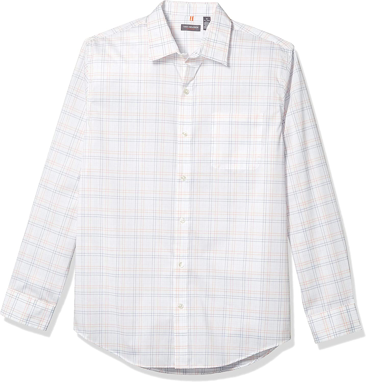 Van Heusen Camisa de manga larga con botones, ajustada, sin planchar, para hombre: Amazon.es: Ropa y accesorios