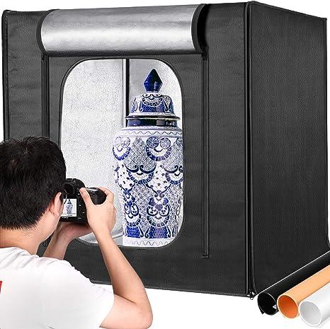 Amazon Com Neewer Professional Photo Light Box Kit 32x32 Inch Adjustable Brightness Studio Photography Lighting Shooting Tent With 3 Led Light Panel 210pcs Smd Led Beads 3 Color Backdrops Multi Angle Shooting Camera