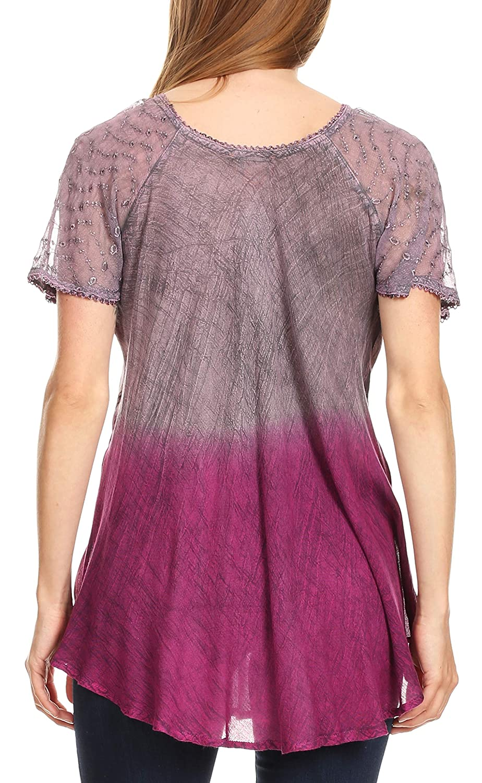 Sakkas Marzia kvinnor lös passform kort ärm ledig batik blus topp tunika 19208-rosa