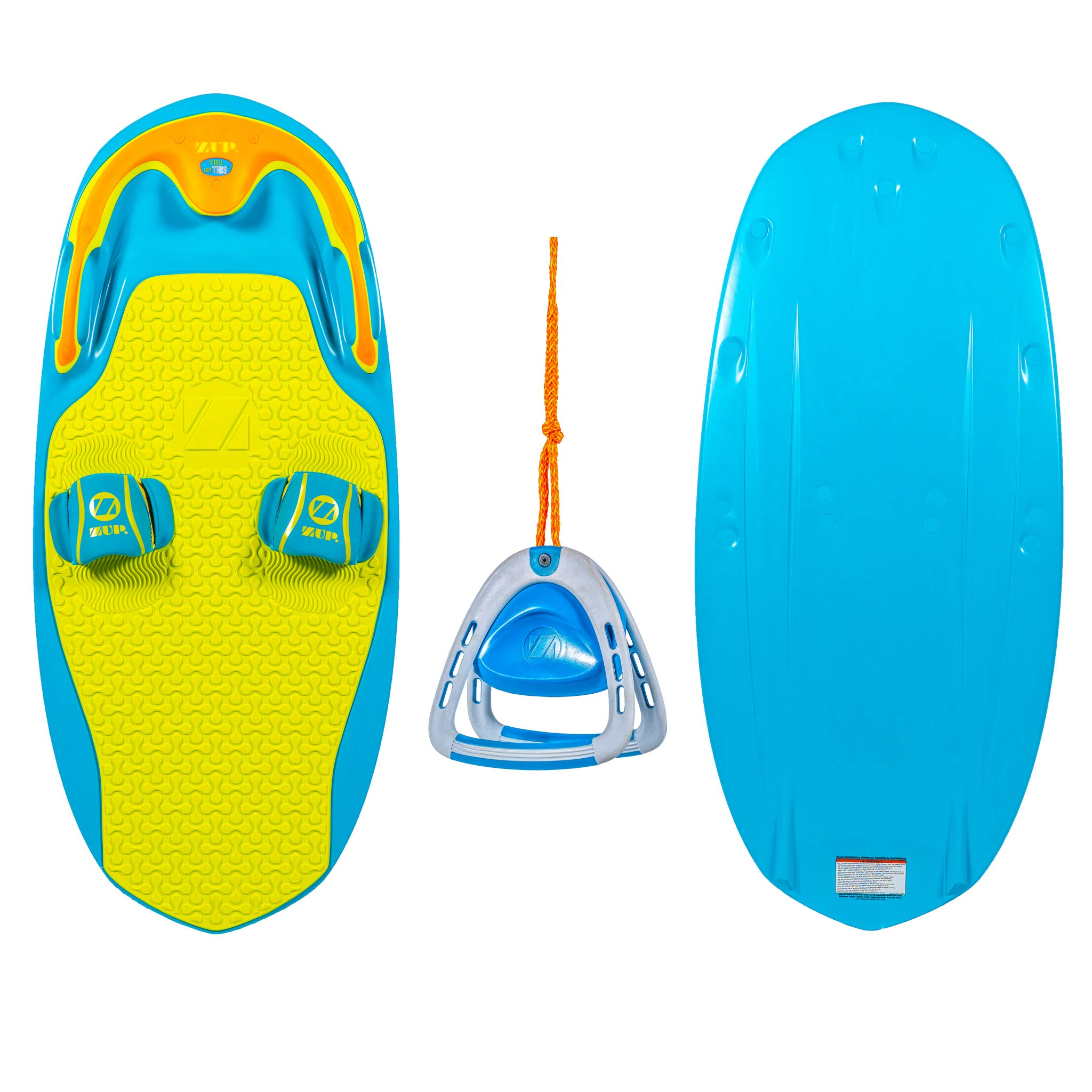 ZUP You Got This 2.0 Board and 2.0 Handle Combo, All-in-One Kneeboard, Wakeboard, Wakeskate, and Wakesurf Board for All Ages, Blue by ZUP