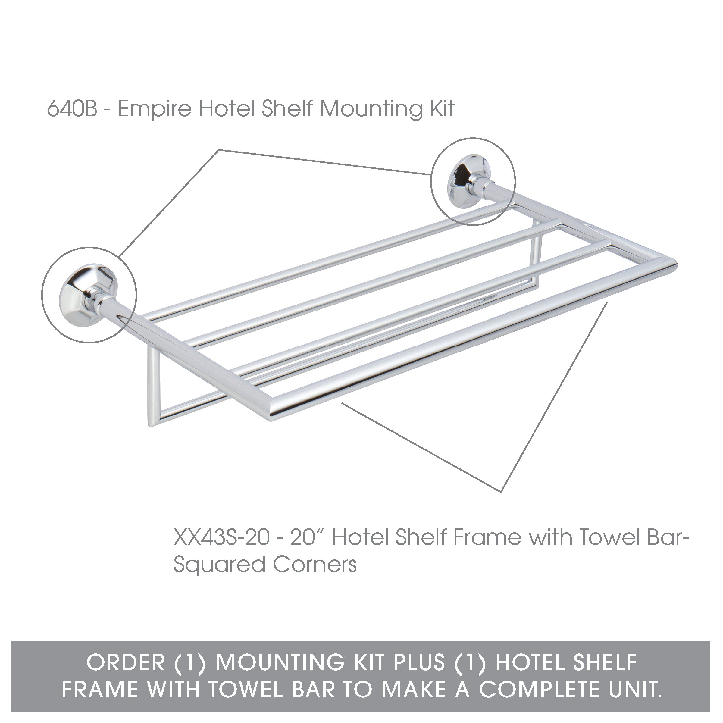 Ginger Empire Hotel Shelf Mounting Kit - 640B/PC - Wall Mounted Towel Rack Trim Brackets - Polished Chrome - Mounting Kit Only by Ginger (Image #4)