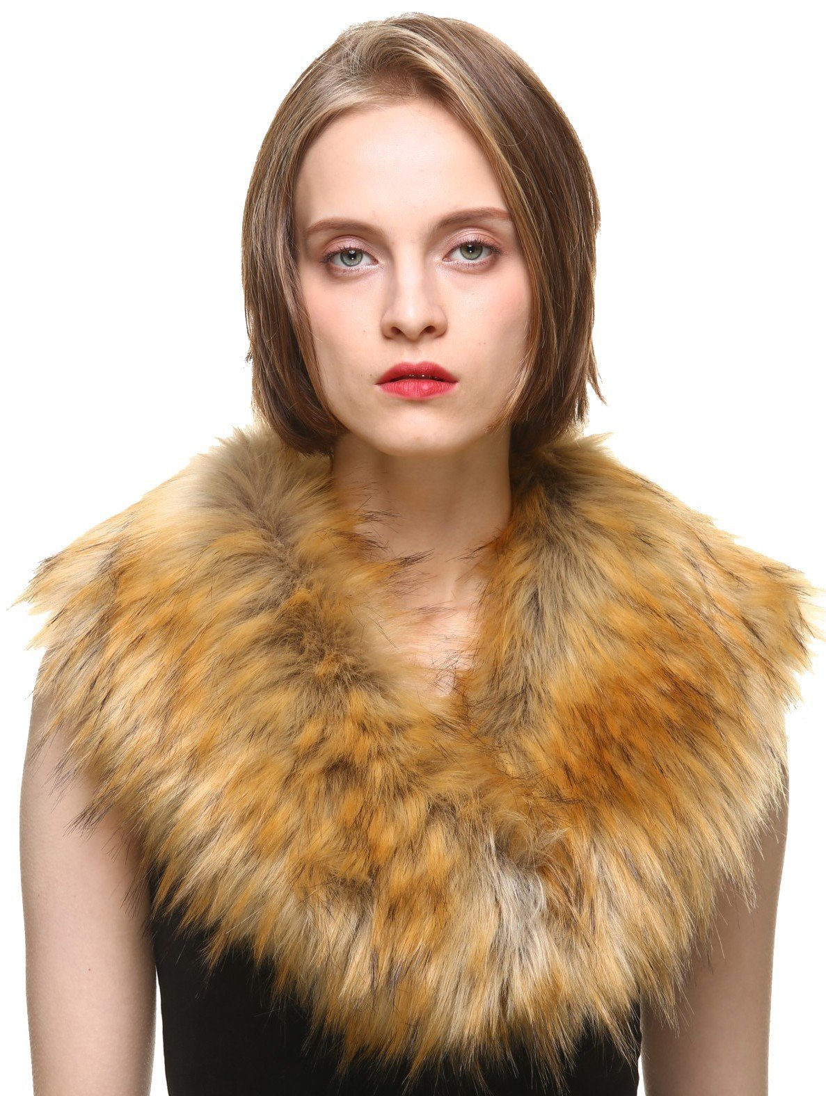 Vogueearth Faux Fur Neck Scarf For Winter Coat Collar Nature