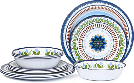 Amazon Com 12 Pcs Melamine Dinnerware Set Rustic Plates And Bowls Set For Camping Service For 4 Dishwasher Safe Dinnerware Sets