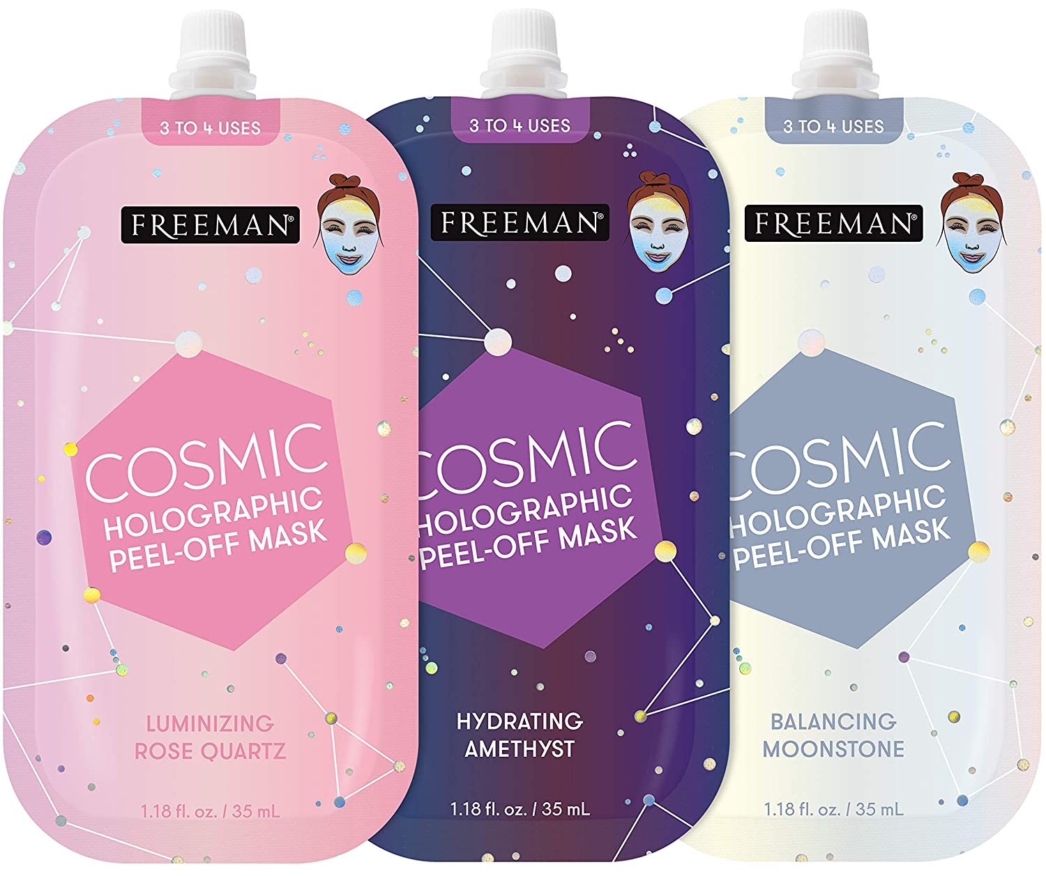 Freeman Cosmic Masks - 3 pack Spout Opening to Re-Seal (3-4 uses)