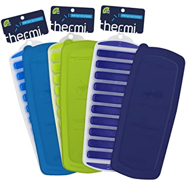 Thermi Ice Cube Tray with Easy Release Push Pop Out Narrow Ice Stick Cubes for Small Mouth Sport Water Bottles S'well Cola Vacuum Insulated (3 Pack + Lids (Frost Blue, Lime Green, Midnight Blue))