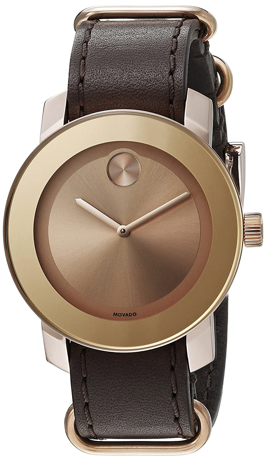 Movado Women 's Swiss Quartz Gold and BrownレザーCasual Watch ( Model : 3600364 ) B017VP3XLO