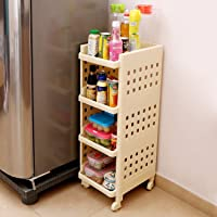 Kurtzy® Vertical 4 Layer Space Saving Storage Organizer Rack Shelf with Rubber Wheels for Kitchen Bathroom (L=28/B=33/H=86cm)