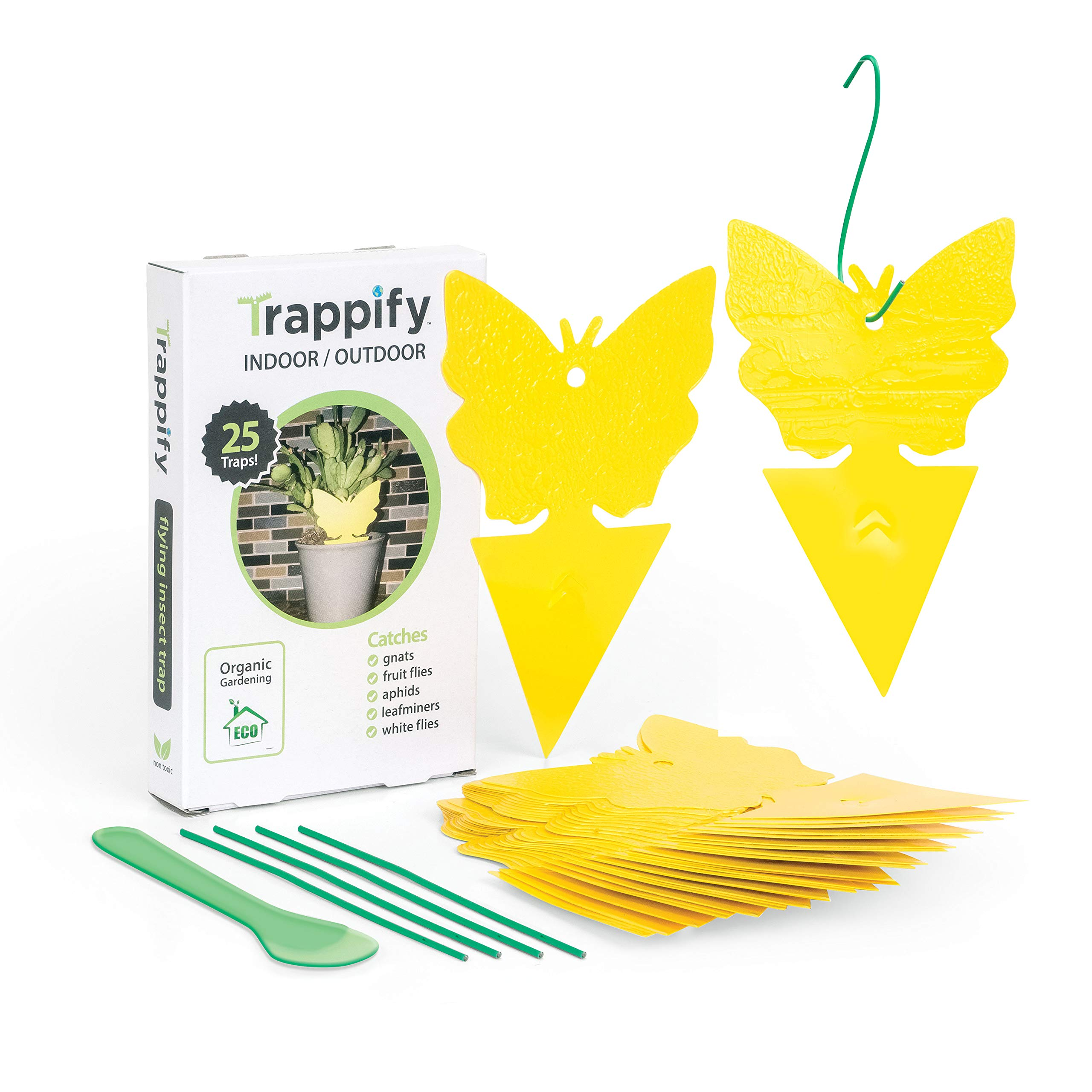 Trappify Sticky Fruit Fly and Gnat Trap Yellow Sticky Bug Traps for Indoor/Outdoor Use - Insect Catcher for White Flies, Mosquitos, Fungus Gnats, Flying Insects - Disposable Glue Trappers - 25 Pk by Trappify