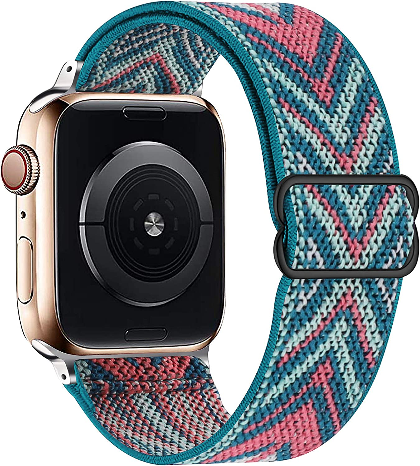 OHCBOOGIE Stretchy Solo Loop Strap Compatible with Apple Watch Bands 38mm 40mm 42mm 44mm ,Adjustable Stretch Braided Sport Elastics Weave Nylon Women Men Wristband Compatible with iWatch Series 6/5/4/3/2/1 SE,Green Arrow,38/40mm
