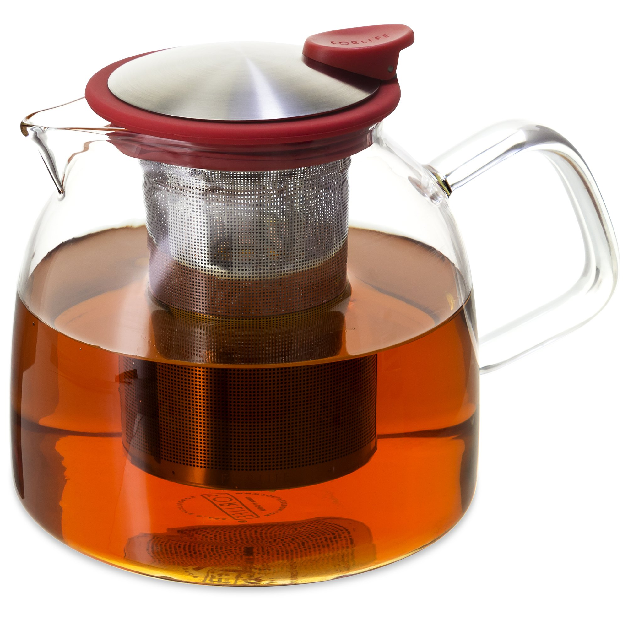 Forlife Bell Glass Teapot with Basket Infuser, 43-Ounce/1280ml, Red by FORLIFE